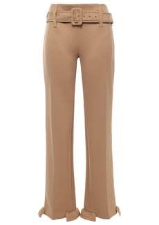 Prada Woman Belted Ruffle-trimmed Scuba Straight-leg Pants Sand