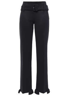 Prada Woman Belted Ruffle-trimmed Scuba Straight-leg Pants Black