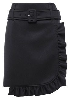 Prada Woman Belted Ruffle-trimmed Scuba Wrap Mini Skirt Black