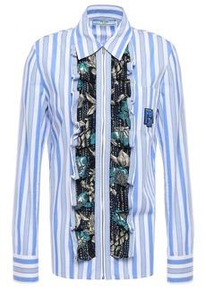 Prada Woman Brocade-trimmed Appliquéd Striped Cotton-poplin Shirt Azure