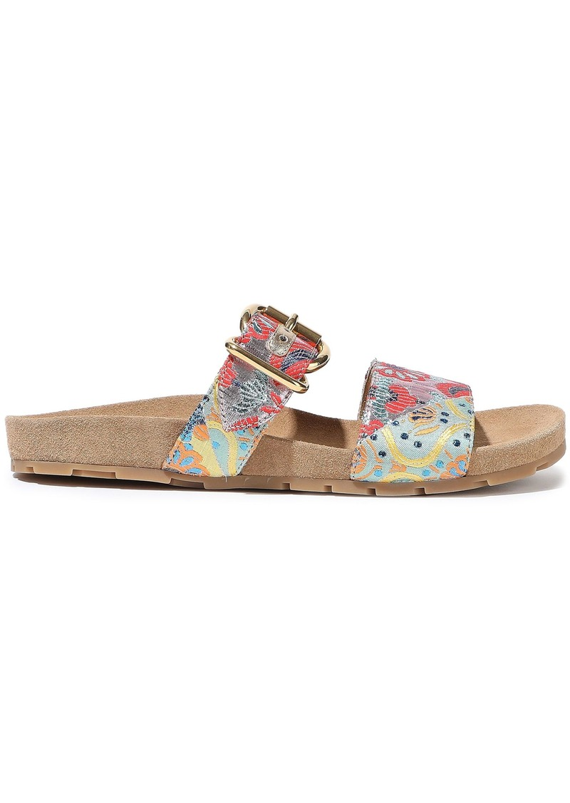 Prada Woman Buckle-detailed Brocade Sandals Multicolor