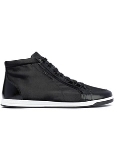 Prada Woman Coated Leather-trimmed Shell Sneakers Black