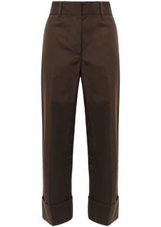 Prada Woman Cropped Appliquéd Cotton Wide-leg Pants Chocolate