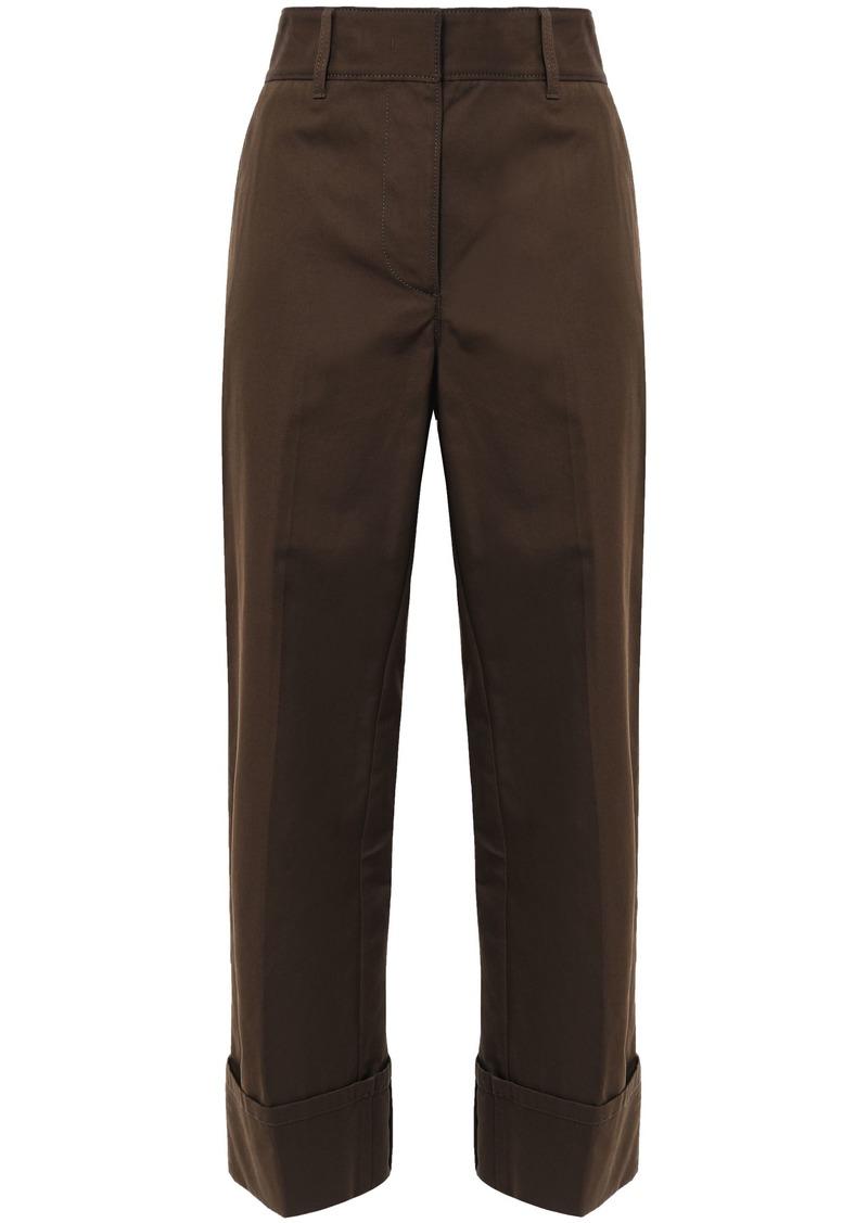 Prada Woman Cropped Appliquéd Cotton Wide-leg Pants Chocolate