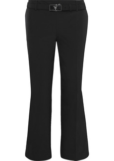 Prada Woman Cropped Belted Stretch-twill Straight-leg Pants Black