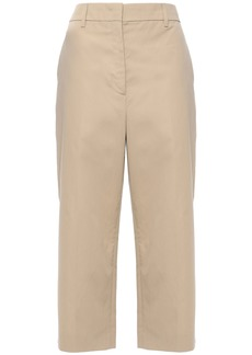 Prada Woman Cropped Cotton Wide-leg Pants Beige