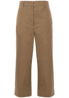 Prada Woman Cropped Cotton Wide-leg Pants Mushroom