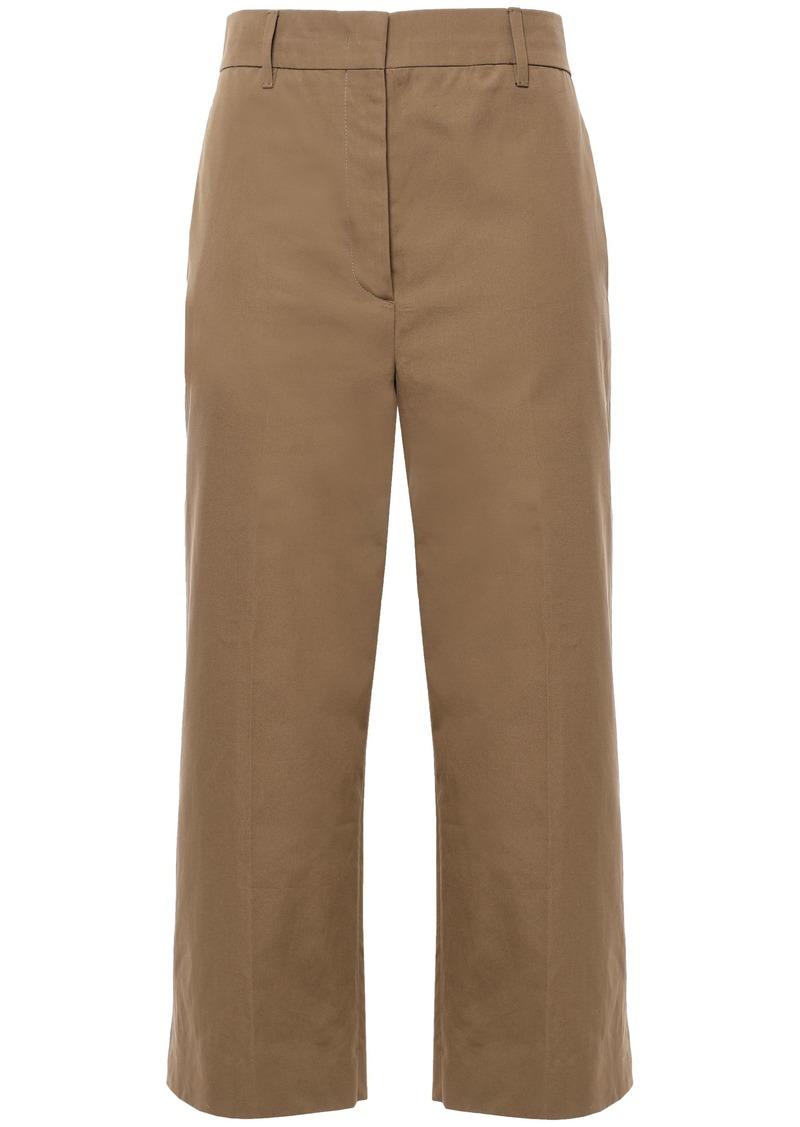 Prada Woman Cropped Cotton Wide-leg Pants Mushroom