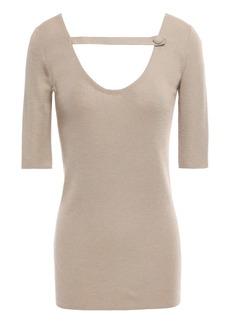 Prada Woman Cutout Cashmere And Silk-blend Top Sand