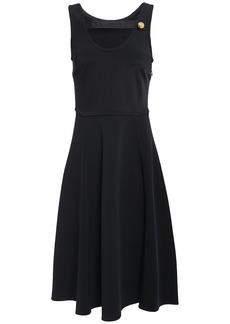 Prada Woman Cutout Satin-trimmed Ponte Dress Black