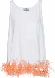 Prada Woman Feather-trimmed Cotton-jersey Top White