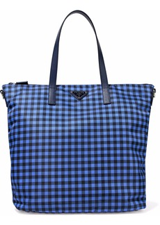 Prada Woman Leather-trimmed Gingham Nylon Tote Blue