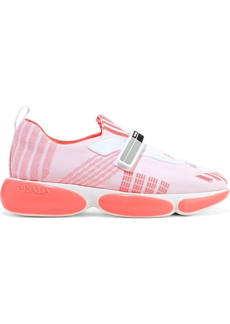 Prada Woman Leather-trimmed Stretch-knit Sneakers Coral