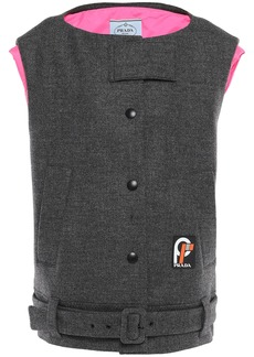 Prada Woman Oversized Belted Wool Vest Dark Gray