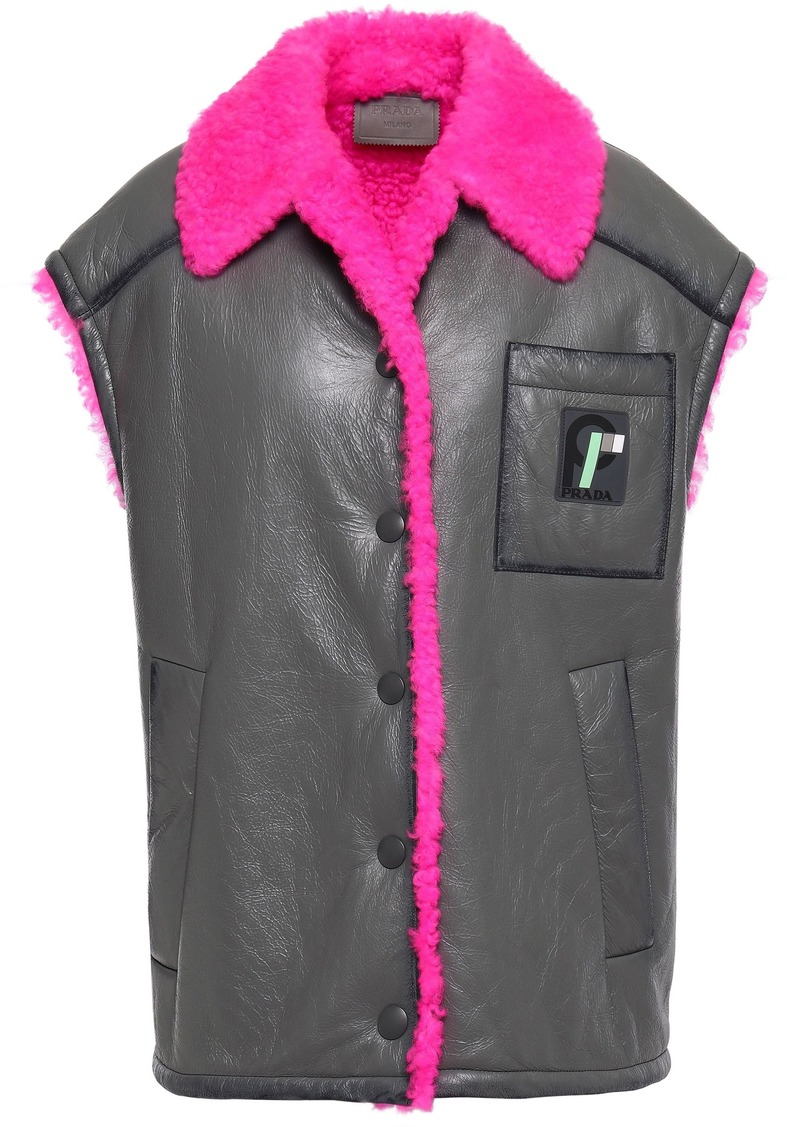 Prada Woman Oversized Shearling-trimmed Textured-leather Vest Anthracite