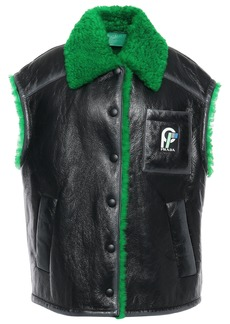 Prada Woman Oversized Shearling-trimmed Textured-leather Vest Black