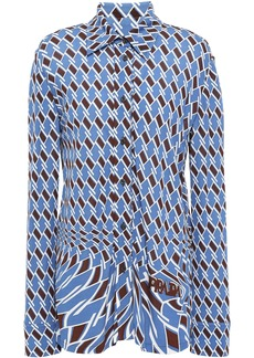 Prada Woman Printed Jersey Shirt Blue
