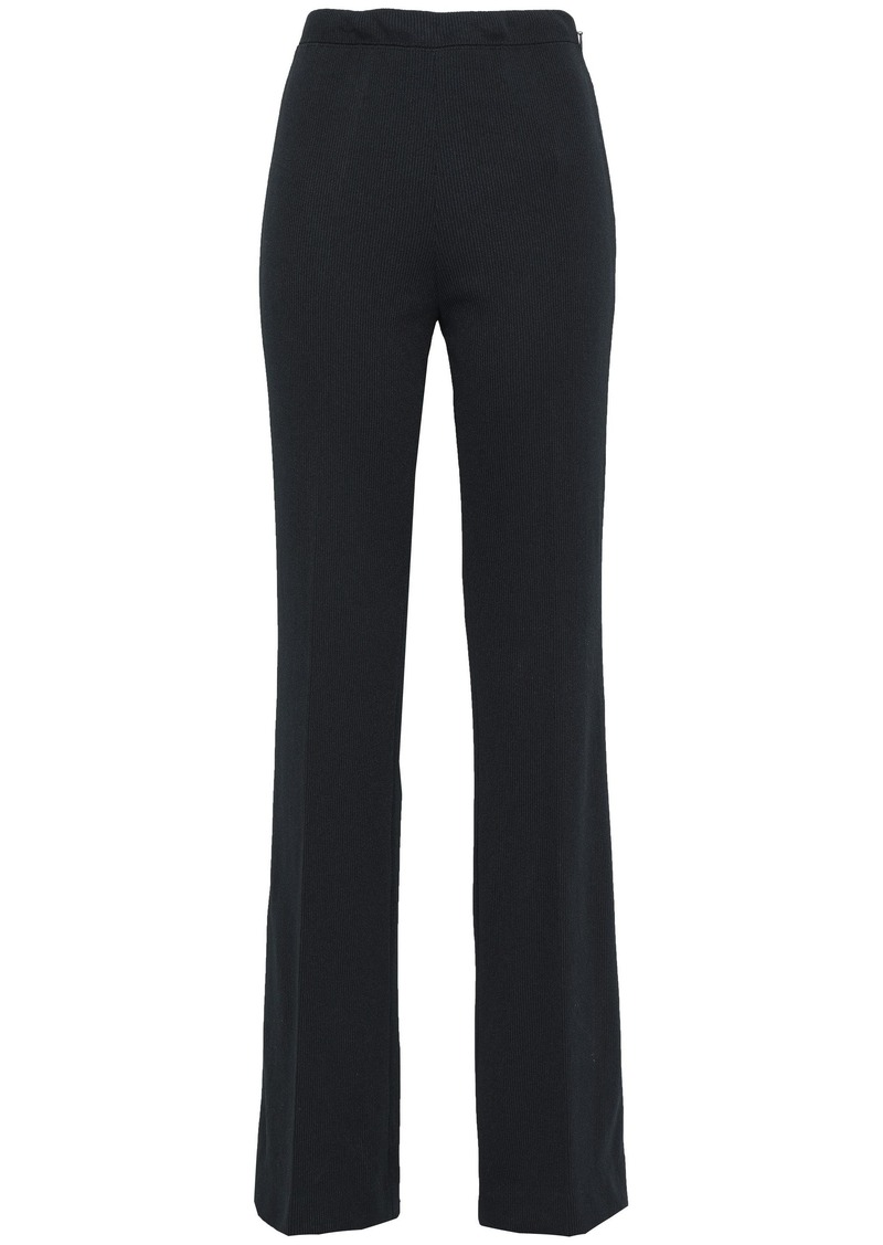 Prada Woman Ribbed Jersey Flared Pants Black