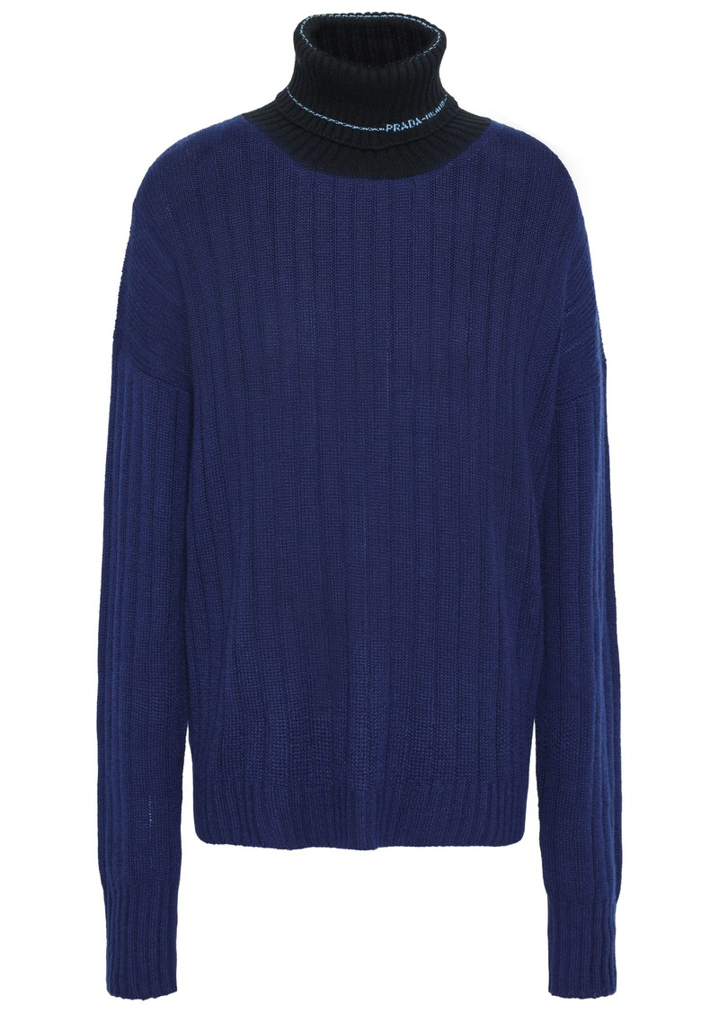 Prada Woman Ribbed Two-tone Cashmere Sweater Navy
