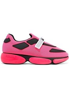 Prada Woman Rubber-trimmed Neon Mesh Sneakers Bright Pink