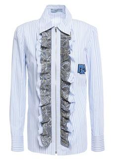 Prada Woman Brocade-trimmed Appliquéd Striped Cotton-poplin Shirt Light Blue