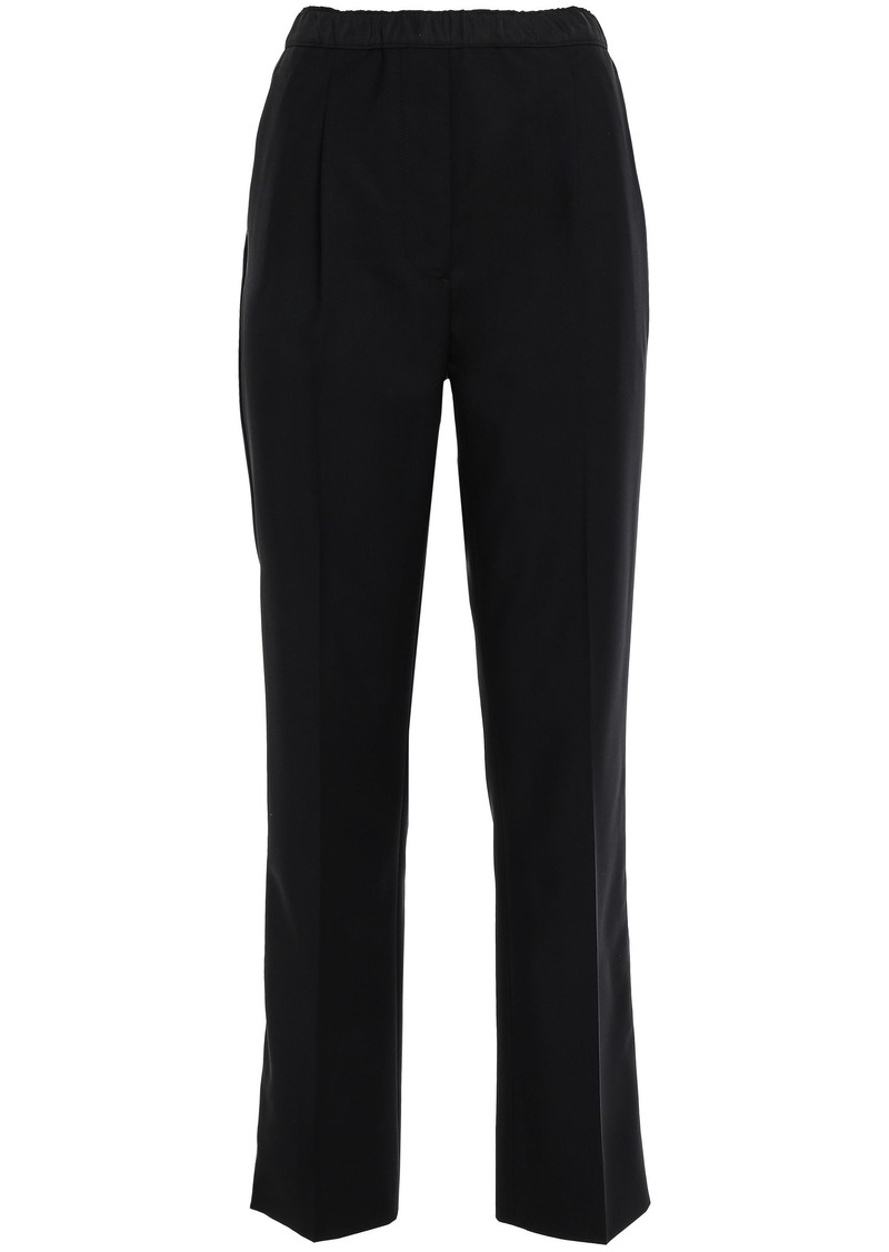 Prada Woman Shell-paneled Wool-blend Straight-leg Pants Black