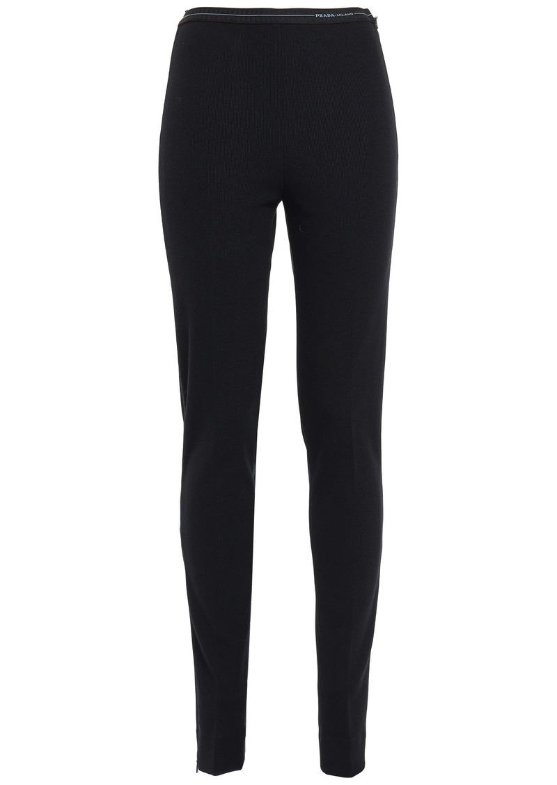 Prada Woman Stretch-knit Skinny Pants Black