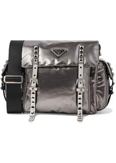 Prada Woman Studded Leather-trimmed Metallic Nylon Shoulder Bag Silver