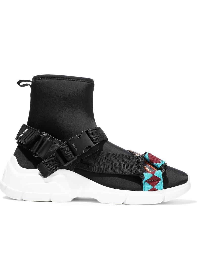 Prada Woman Woven-trimmed Neoprene High-top Sneakers Black
