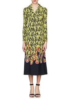 Prada Women's Banana- & Flame-Print Satin Shirtdress