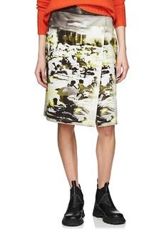 Prada Women's Beach-Print Cotton Canvas Foldover Skirt