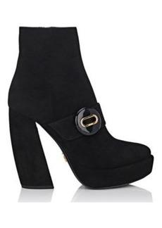 Prada Women's Button-Strap Suede Platform Ankle Boots