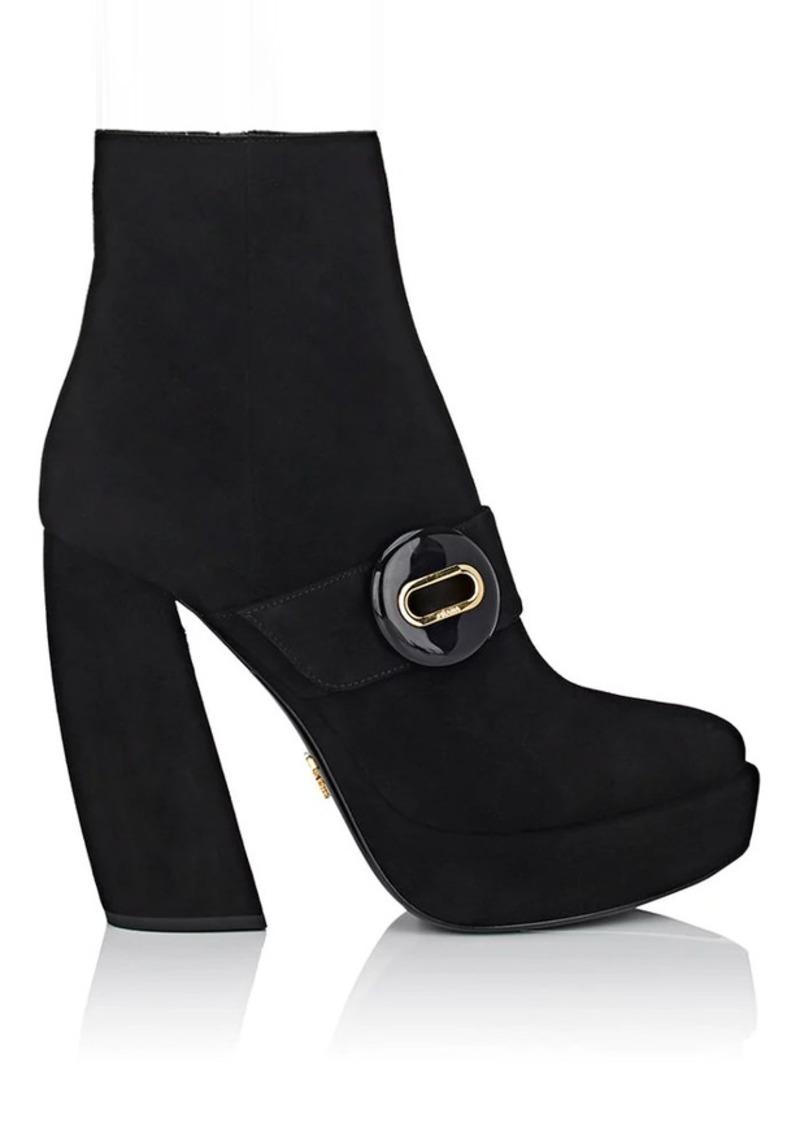 cddf3cd2d1bc Prada Prada Women s Button-Strap Suede Platform Ankle Boots
