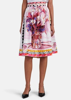 Prada Women's Floral Cotton Poplin Skirt