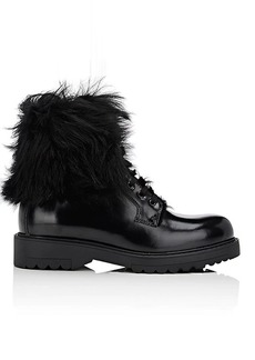 Prada Women's Fur-Lined Leather Ankle Boots