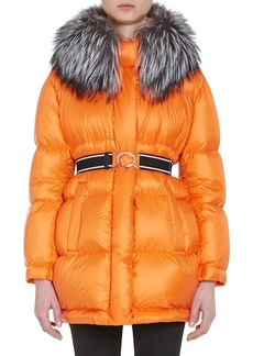 Prada Women's Fur-Trimmed Oversized Down-Quilted Coat
