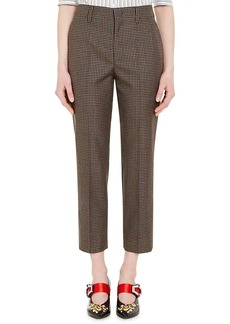 Prada Women's Houndstooth Wool-Mohair Tapered Crop Trousers