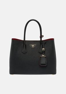 Prada Women's Large Leather Double Tote Bag - Black
