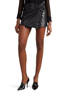 Prada Women's Leather Belted Miniskirt