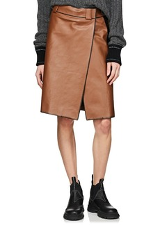 Prada Women's Leather Foldover Skirt