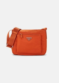 Prada Women's Leather-Trimmed Crossbody Camera Bag-Papaya,