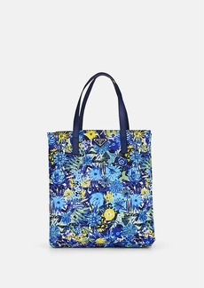 Prada Women's Leather-Trimmed Floral Shopping Tote Bag - Bluette dis. primule/Bluette dis. primule