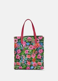 Prada Women's Leather-Trimmed Floral Shopping Tote Bag - Pink dis. primule/Pink dis. primule