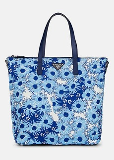 Prada Women's Leather-Trimmed Floral Tote Bag - Blue