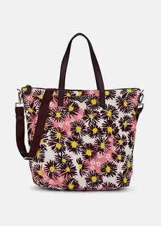 Prada Women's Leather-Trimmed Floral Tote Bag - Bordeaux dis. margher/Bordeaux dis. marghe