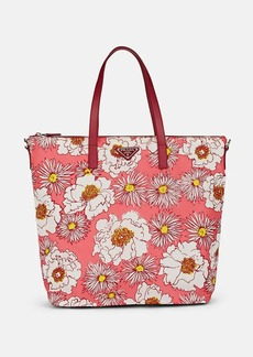 Prada Women's Leather-Trimmed Floral Tote Bag - Pink