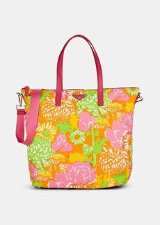Prada Women's Leather-Trimmed Floral Tote Bag-Arancio dis. crisante,