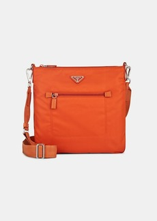 Prada Women's Leather-Trimmed Messenger Bag-Papaya,