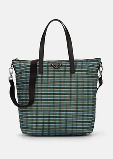 Prada Women's Leather-Trimmed Plaid Tote Bag - Green