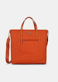 Prada Women's Leather-Trimmed Shopping Tote Bag - Papaya